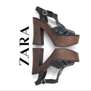 Zara Platform Sandals Black Size 40